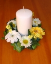 "6"" Daisy & Zinnia Candle Ring"